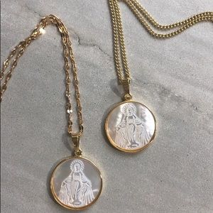 Carved Shell-Mary/Our Lady of Fatima 14k Necklace